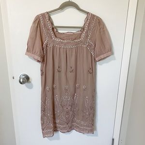 Gold Hawk Silk Embroidered Dress, Dusty Pink S